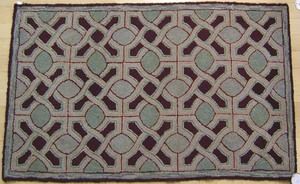 Four American hooked rugs with floral and geometri