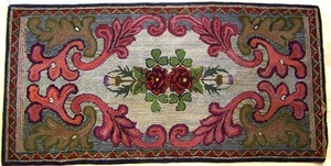 Maine floral hooked rug, ca. 1900-1910, 35