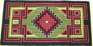 American geometric hooked rug, ca. 1915, 28