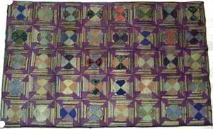 American geometric hooked rug with log cabin varia