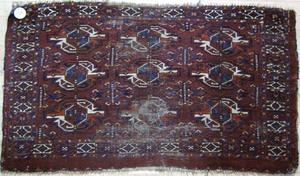 Turkoman mat, ca. 1910, 4' x 2'4