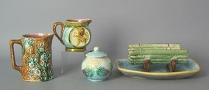 Four pcs. of French majolica to include asparagusi