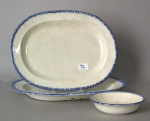 Three pcs. of Leeds to include 2 platters, 19th c.