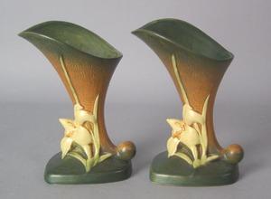Pair of Roseville vases, #204-8, 8 1/4