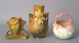 Two Roseville vases, #192-5 and #108-8, 8 1/2
