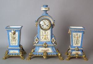 French brass and porcelain 3-piece clock set, 18 3