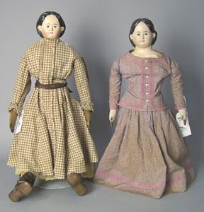 Two Greiner paper mache dolls.