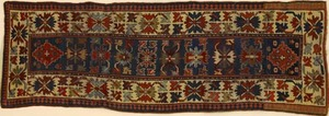 Kazak runner, ca. 1910, with overall geometric des