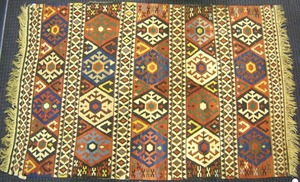 Kilim throw rug, ca. 1930, with overall geometrice