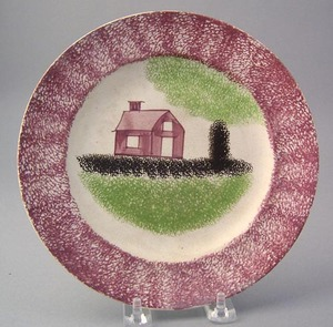 Red spatter plate with red schoolhouse, green tree