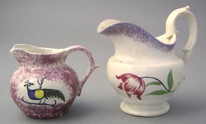 Miniature red sponge spatter creamer with peafowl,