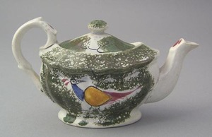 Miniature olive green spatter teapot with blue, ye