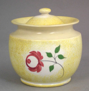 Yellow spatter covered sugar with rose pattern, 4/