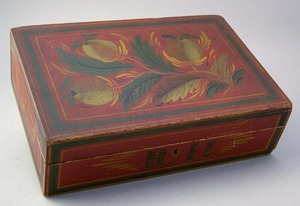 Vibrant New England tole decorated wooden valuable