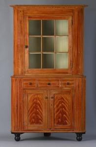 Pennsylvania painted pine 2-part corner cupboard,a