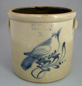 Three-gallon stoneware crock, 19th c., with cobalt