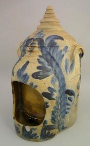 Large stoneware bird feeder, mid 19th c., with pro