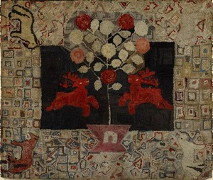 New England hooked rug, late 19th c., with a centr