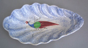 Unusual blue spatter scalloped relish dish with bl