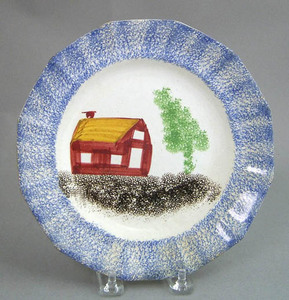 Blue spatter paneled plate with red schoolhouse an