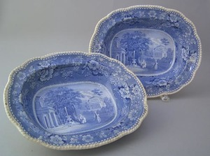 Pair of blue and white ironstone bowls, 19th c., w
