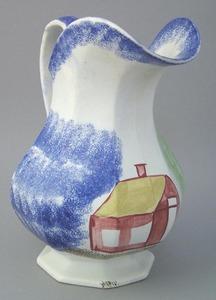 Large blue spatter paneled baluster form pitcher w