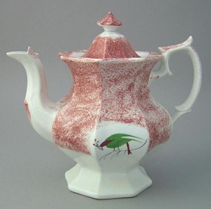 Red spatter coffee pot with paneled sides and doub