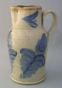 Stoneware pitcher, 19th c., with overall cobalt fl