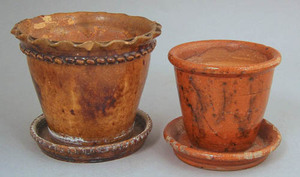 Pennsylvania redware flowerpot with attached under