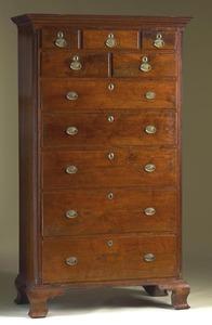 Pennsylvania Chippendale walnut tall chest, ca. 17