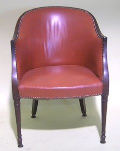 Regency mahogany armchair, ca. 1810, with arched c