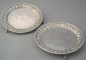 Pair of Baltimore silver salvers by Jenkins and Je