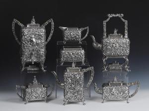 Rare ornate S. Kirk & Son silver tea service in al