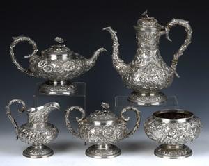 S. Kirk & Son sterling silver 5-piece tea servicen