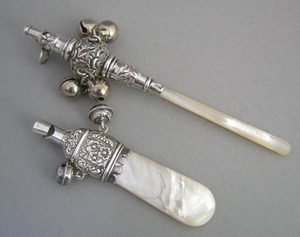 English silver and mother of pearl rattle, ca. 188