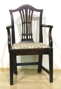 George III mahogany armchair, ca. 1780, with pierc