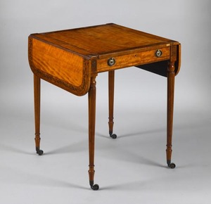 Adams figured maple game table, ca. 1805, the rect