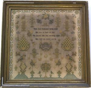English silk on linen needlework sampler dated 184