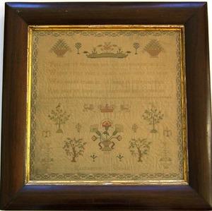 English silk on linen needlework sampler dated 183