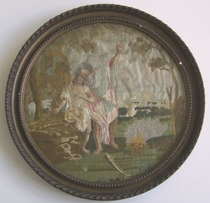 Silk, wool, andpaint on silk embroidery, early 19t