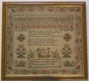 English wool on linen needlework sampler, ca. 1830