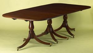 Georgian mahogany triple pedestal dining table, ca