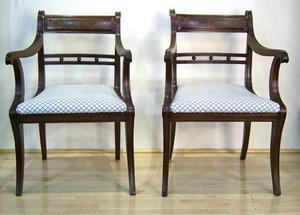 Pair of Regency mahogany open armchairs, ca. 1820,