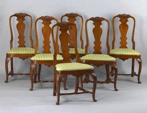 Set of 6 Irish Queen Anne oak dining chairs, late8