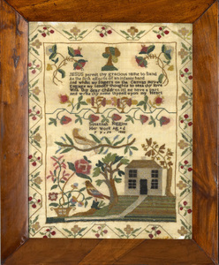 Silk on gauze needlework sampler wrought by