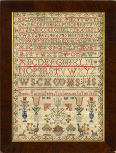 Scottish silk on silk needlework sampler, inscribe