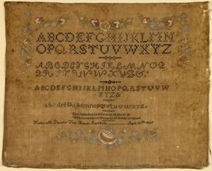 New York silk on linen school sampler, inscribed