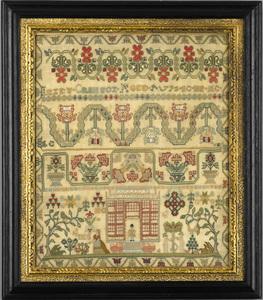 Very fine silk on silk needlework sampler wroughty