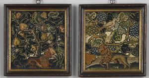 Pair of Elizabethan needlework pictures, ca. 1680,