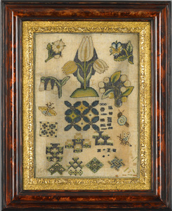 Rare English linen spot sampler with geometric and